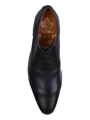 navy Leather lace-up oxfords - 15613410 - Standard Image - 4