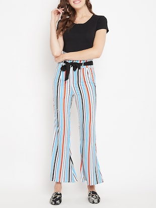 flared hem striped trouser - 15613513 - Standard Image - 4