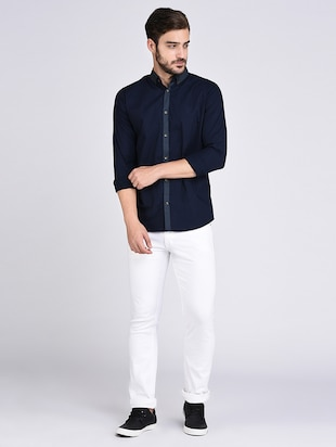 navy blue cotton casual shirt - 15614737 - Standard Image - 4