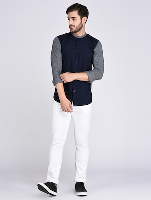 blue cotton casual shirt - 15614745 - Standard Image - 4