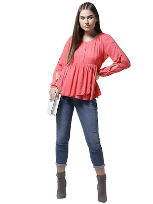 button closure sleeve gathered top - 15615435 - Standard Image - 4
