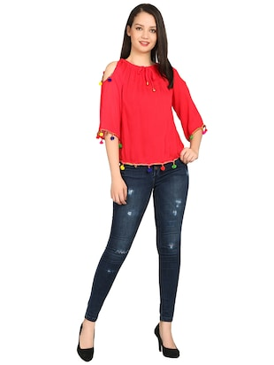 gathered neck pom pom detail top - 15615544 - Standard Image - 4