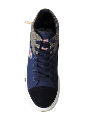 navy Canvas lace up sneakers - 15615697 - Standard Image - 4