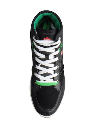 black leatherette lace up sneakers - 15616051 - Standard Image - 4