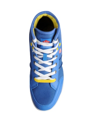 blue leatherette lace up sneakers - 15616052 - Standard Image - 4