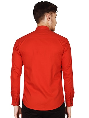 red cotton casual shirt - 15616556 - Standard Image - 4