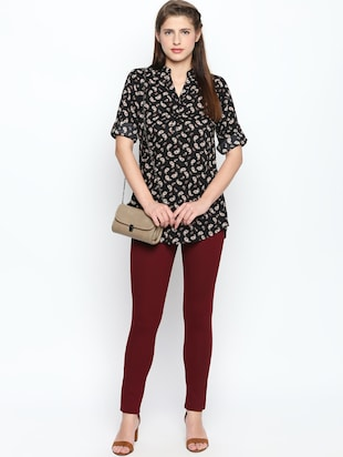 maroon solid high rise jegging - 15616871 - Standard Image - 4