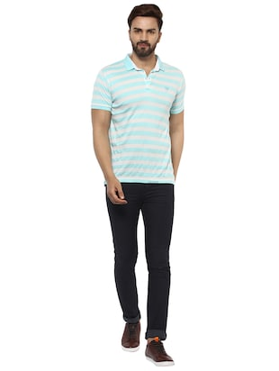 blue cotton blend polo t-shirt - 15619663 - Standard Image - 4