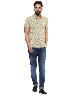 beige cotton all over print t-shirt - 15619668 - Standard Image - 4