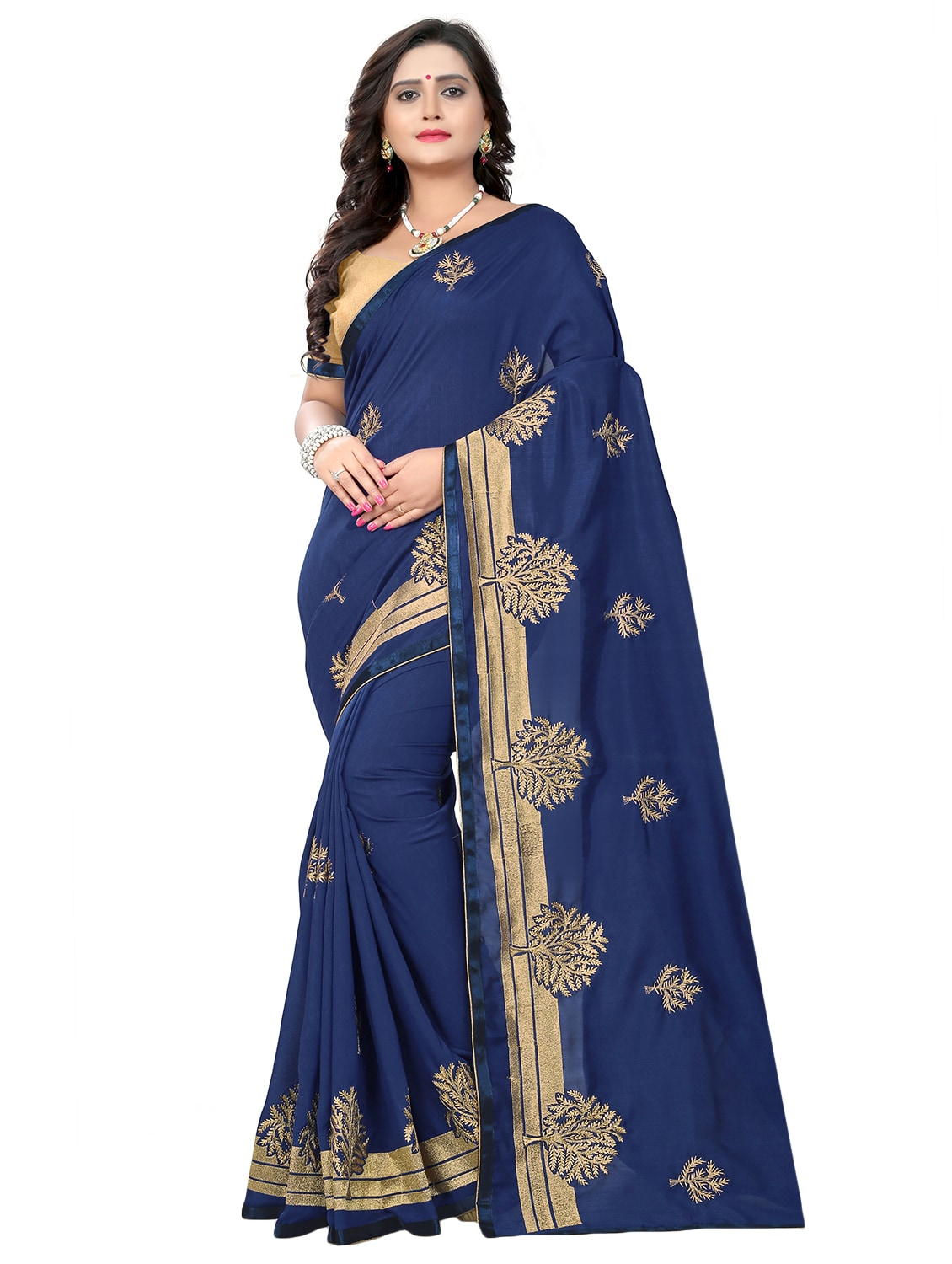 ea65e63e4adbe2 Buy Zari Embroidered Saree With Blouse for Women from Riva for ₹1545 at 68%  off | 2019 Limeroad.com