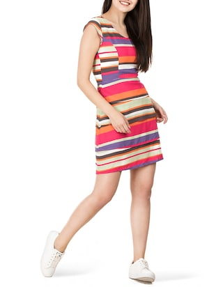 tiered striped a-line dress - 15620615 - Standard Image - 4