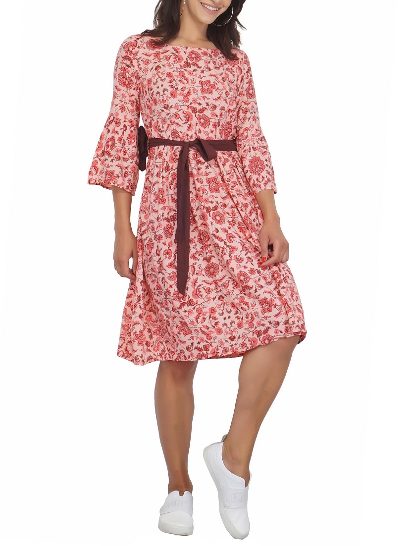 7bc656e8e70a Buy Tie Up Waist Floral Fit And Flare Dress for Women from Shalvi for ₹779  at 48% off