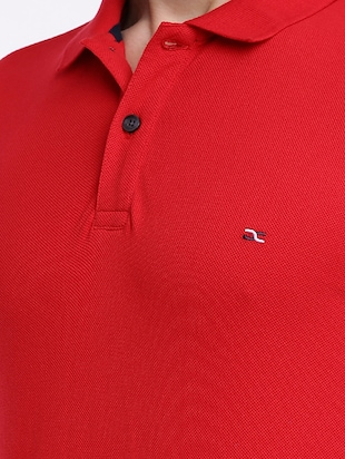 red cotton polo t-shirt - 15621455 - Standard Image - 4