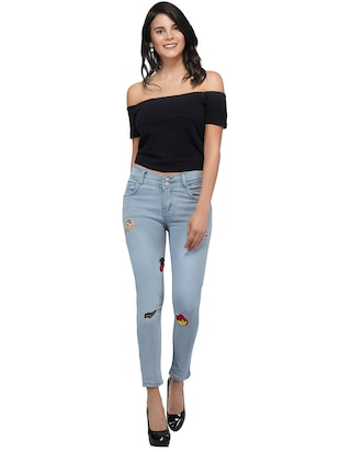 graphic patch mid rise jeans - 15621481 - Standard Image - 4