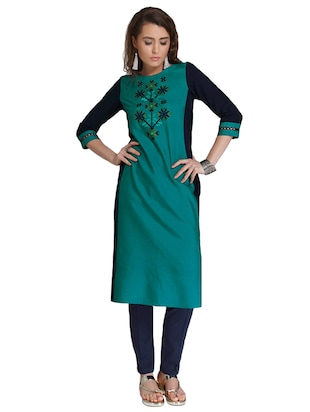 Straight embroidered kurta - 15621820 - Standard Image - 4