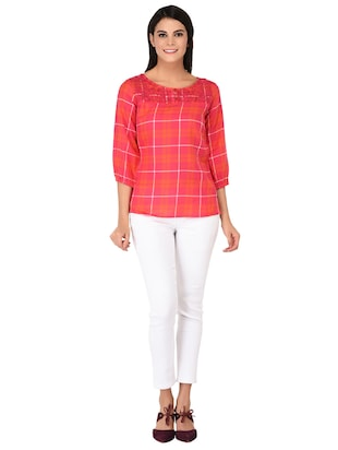 embroidered neck button detail checkered top - 15623564 - Standard Image - 4