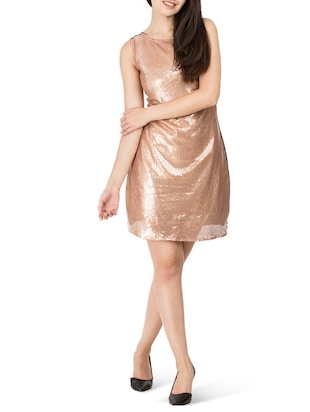 sleeveless shimmery a-line dress - 15623862 - Standard Image - 4
