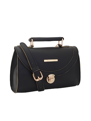 black leatherette (pu) regular sling bag - 15625794 - Standard Image - 4