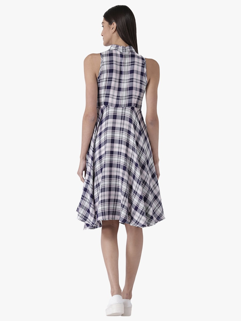 befb9e2ae Buy Button Detail Checkered Fit And Flare Dress for Women from Magzayra for  ₹1095 at 50% off