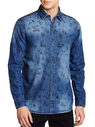 2423eb8fe8d83 Buy Blue Cotton Casual Shirt for Men from Pepe Jeans for ₹1477 at 49% off |  2019 Limeroad.com