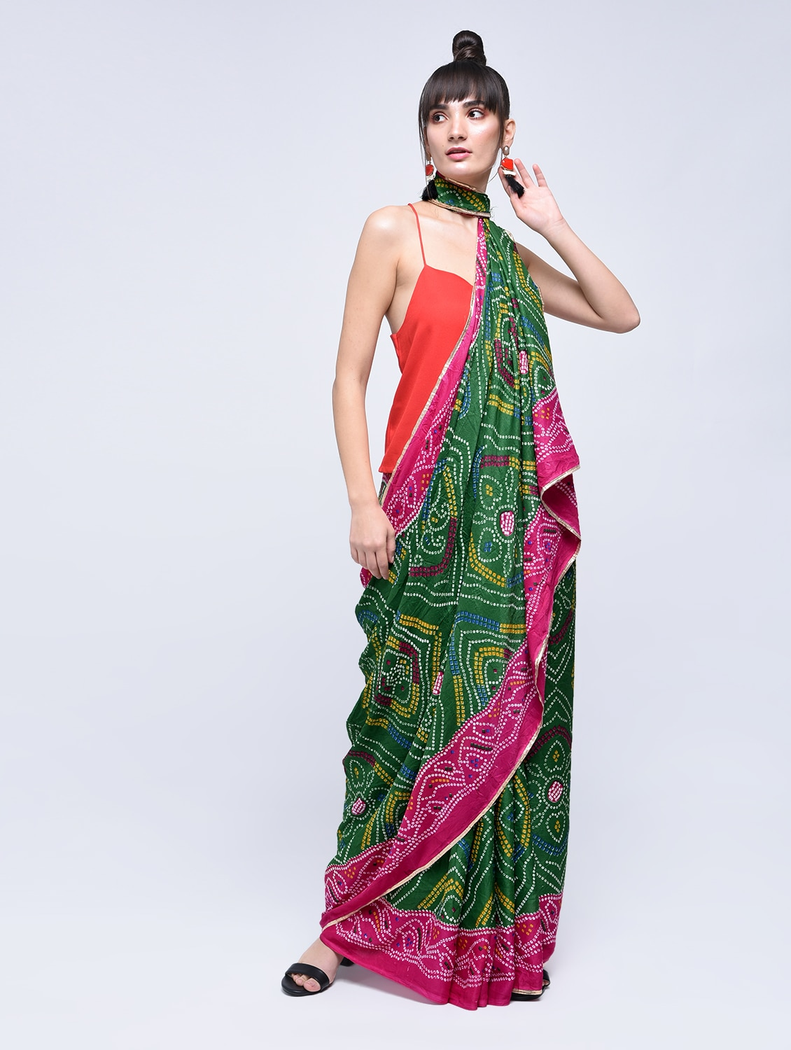 d85defcd6d Buy Green Crepe Printed Saree With Blouse by Rajgharana Exports - Online  shopping for Sarees in India | 15630542