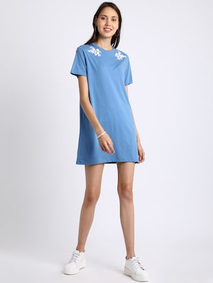 azure blue embroidered shift dress - 15637826 - Standard Image - 4