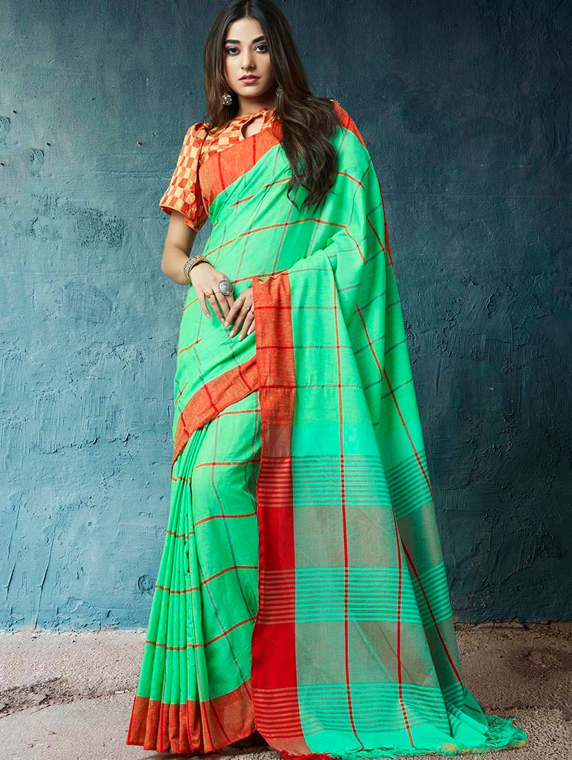 4d863bf6d39894 Buy Linen Checkered Printed Saree With Blouse for Women from Shangrila  Designer for ₹1724 at 66% off