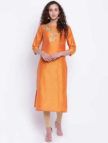Embroidered silk straight kurta - 15649808 - Standard Image - 1