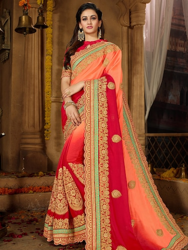 floral ombre embroidered saree with blouse - 15650454 - Standard Image - 1