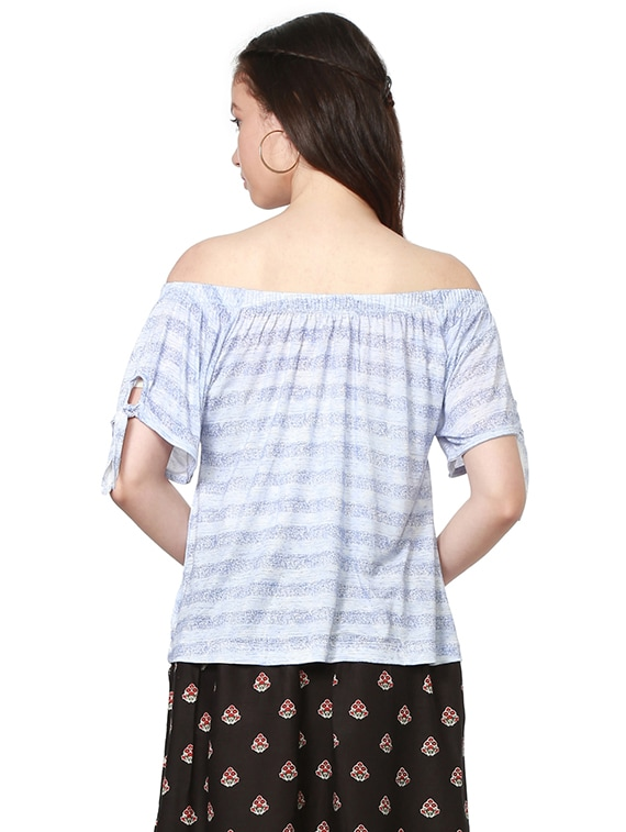 e5d304474604f Buy Side Tie Up Sleeved Striped Off Shoulder Top for Women from People for  ₹370 at 38% off