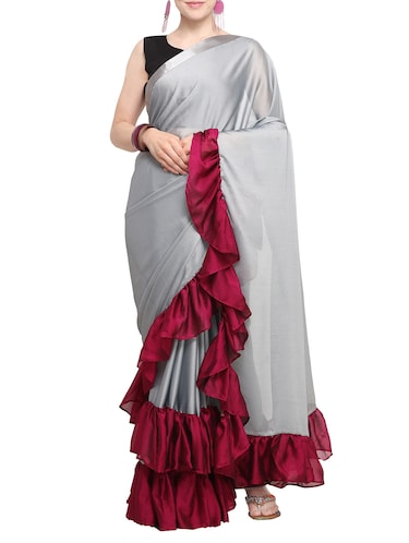 contrast ruffle border saree with blouse - 15655071 - Standard Image - 1