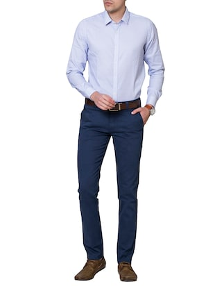 blue cotton chinos - 15655154 - Standard Image - 4