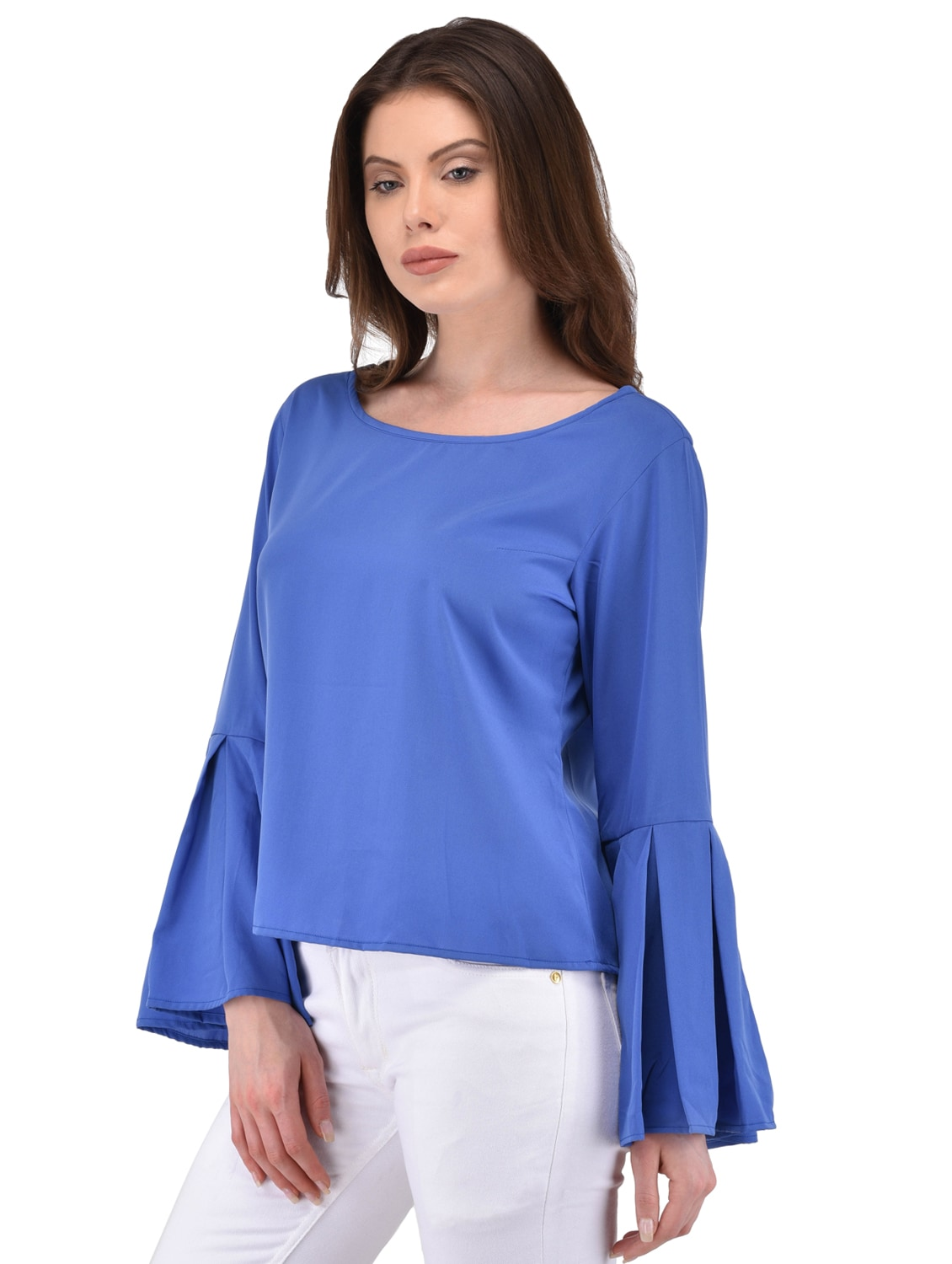 017478791747cd Buy Pleated Bell Sleeve Cobalt Blue Top for Women from Berrypeckers for  ₹630 at 50% off   2019 Limeroad.com