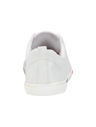 white leatherette lace up sneakers - 15679846 - Standard Image - 4