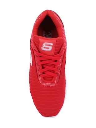 red Mesh lace up sport shoes - 15682065 - Standard Image - 4