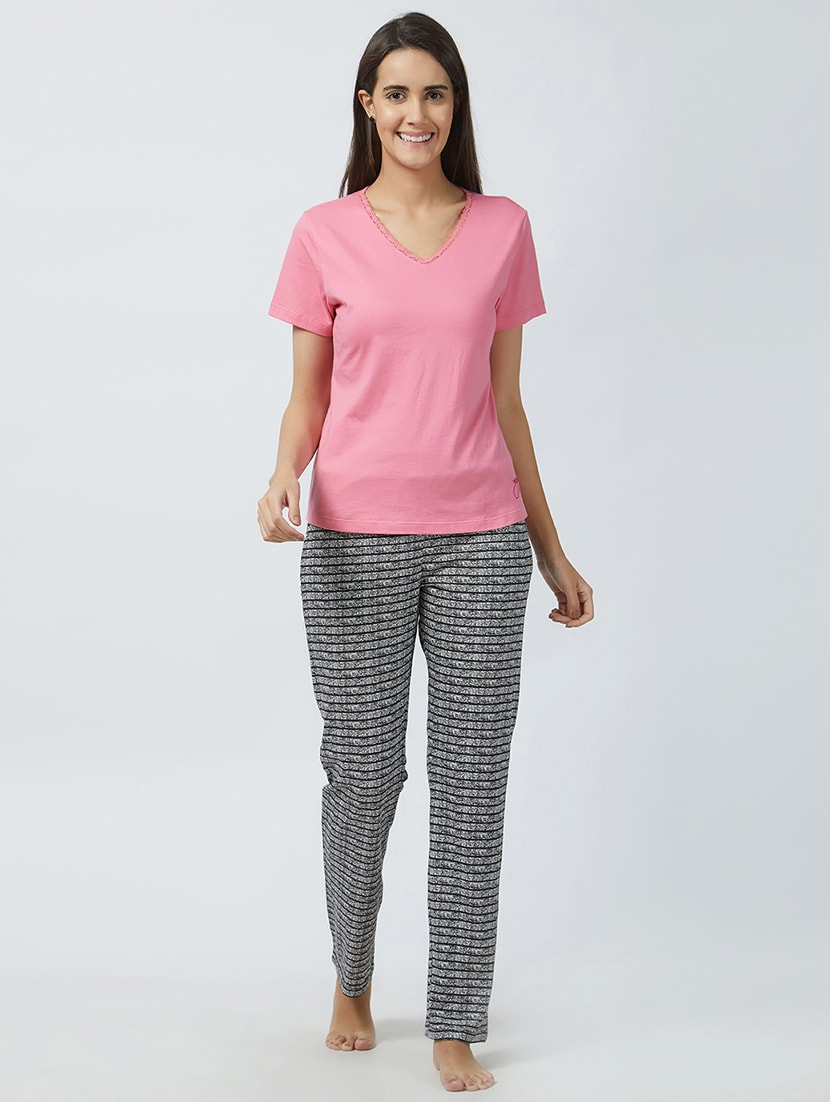 Buy Printed Nightwear Pajama Set by Mystere Paris - Online shopping for  Nightwear Sets in India  63108b603