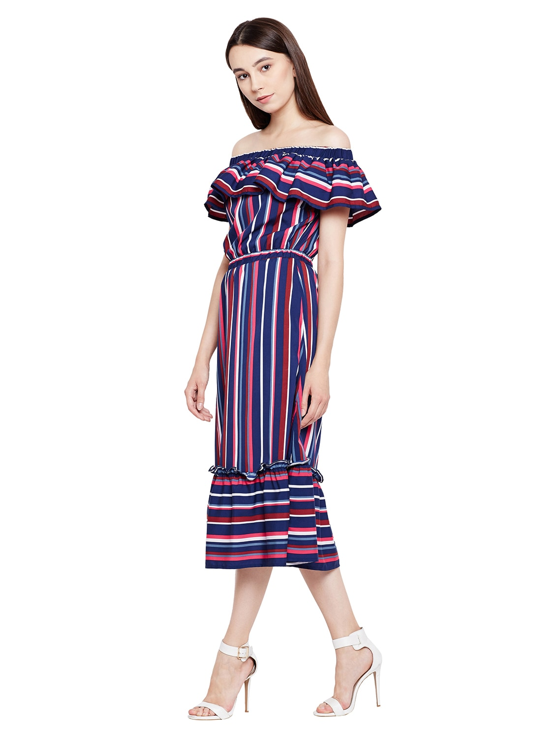 25dfc3d782dc Buy Ruffled Detail Striped Off Shoulder Dress for Women from Oxolloxo for  ₹1458 at 27% off