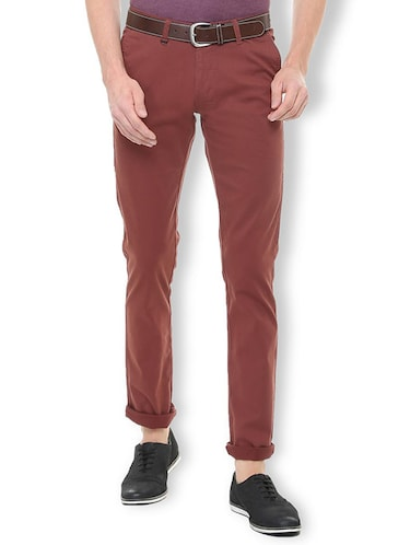 red cotton blend chinos - 15699186 - Standard Image - 1