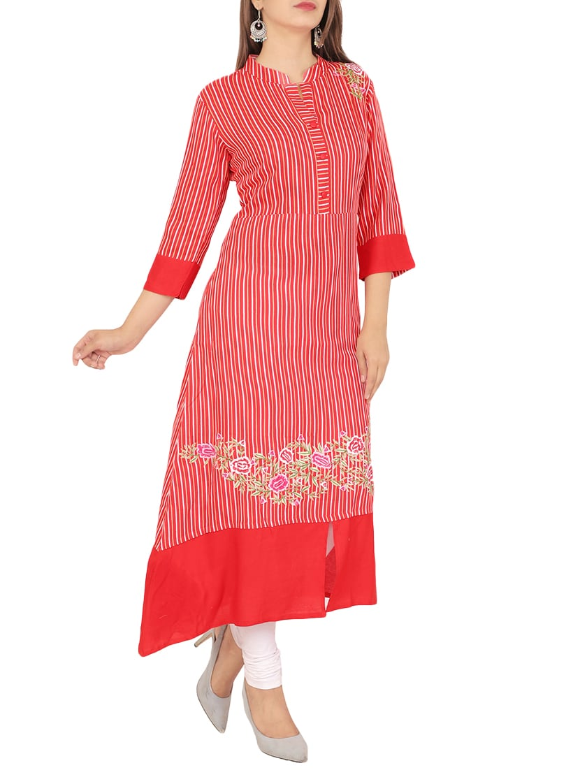 30ba0ba6d71d Buy Embroidered Stripes A-line Kurta by Nitvan - Online shopping for ...