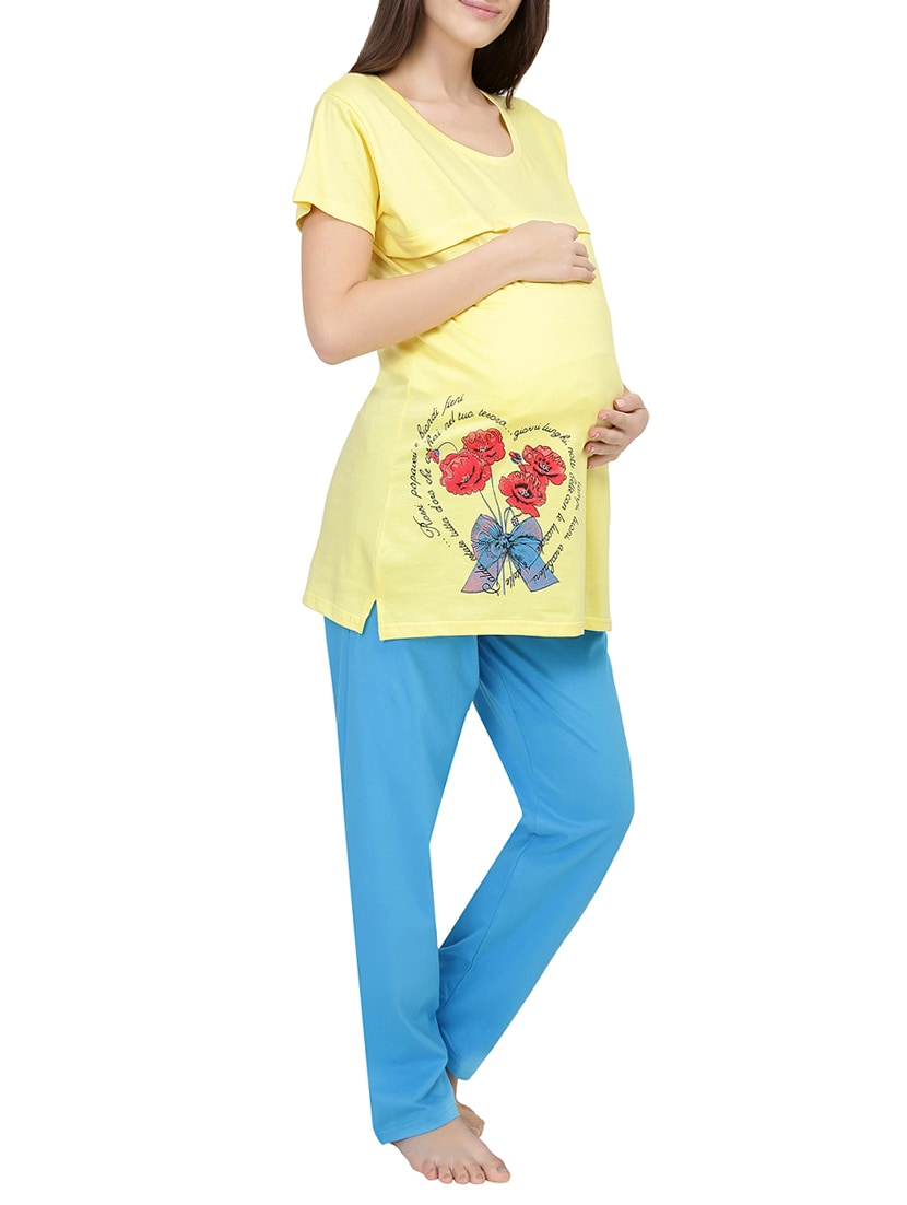 787669b68 Buy Graphic Print Nightwear Maternity Pajama Set for Women from Red Rose for  ₹949 at 5% off