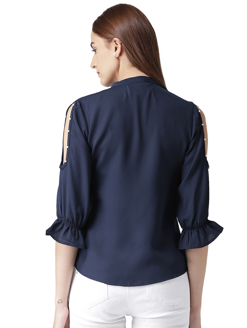 c817bb3a8a6e2 Buy Faux Pearl Cold Shoulder Shirt by Kassually - Online shopping for Shirts  in India
