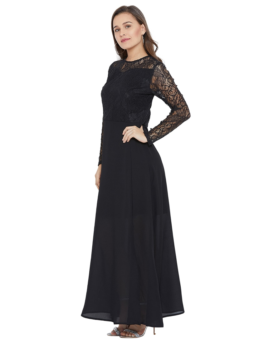 07361d60f19 Buy High Slit Lace Maxi Dress for Women from Femella for ₹1649 at 25% off