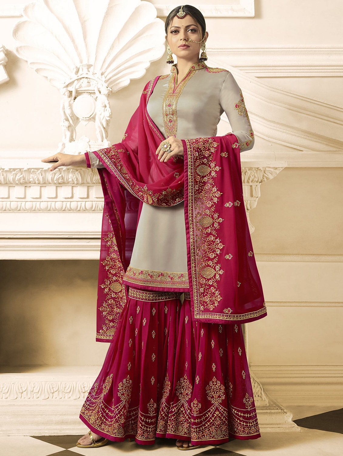 0083f01690b5d Buy Zari Embroidered Sharara Suit for Women from Xclusive Designer for  ₹8498 at 54% off