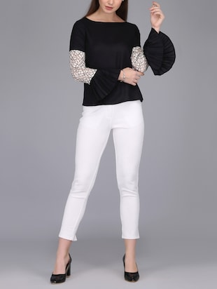 lace insert bell sleeved top - 15726285 - Standard Image - 4