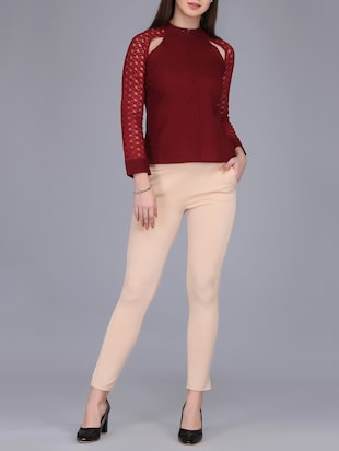 lace sleeved button up top - 15726286 - Standard Image - 4