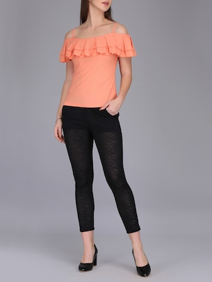 cold shoulder pleated top - 15726294 - Standard Image - 4