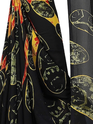 geometrical printed saree with blouse - 15726302 - Standard Image - 4