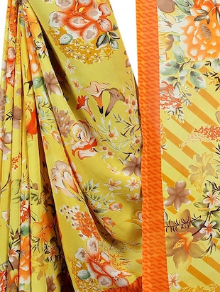 floral printed saree with blouse - 15726314 - Standard Image - 4