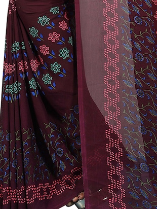 floral printed saree with blouse - 15726330 - Standard Image - 4