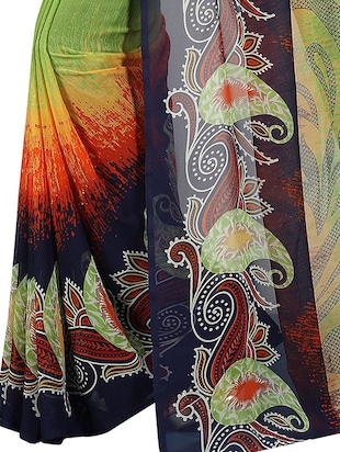 paisley printed saree with blouse - 15726335 - Standard Image - 4